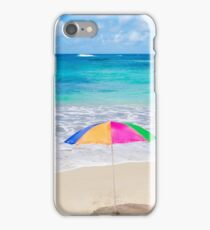 Beach umbrellas and chair by the ocean iPhone Case/Skin