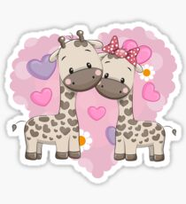 Two cute giraffes Sticker