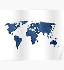Midnight Blue Watercolor World Map Poster