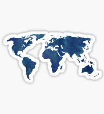 Midnight Blue Watercolor World Map Sticker