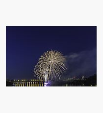 Fireworks over a river Photographic Print