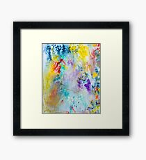 Vibrant Rainbow colored Abstract with Glitter Framed Print