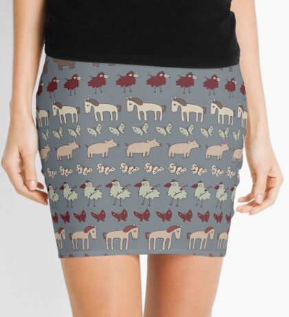 Striped Pigs and Ponies - Grey - farmyard pattern by Cecca Designs Mini Skirt