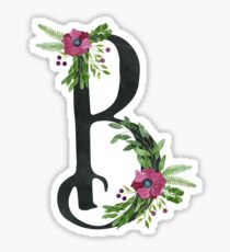 Letter B with Floral Wreath Sticker