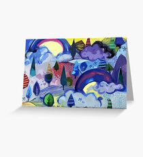 Dreamland - Landscape with Rainbows by Cecca Designs Greeting Card