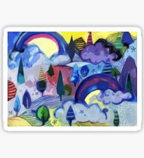 Dreamland - Landscape with Rainbows by Cecca Designs Sticker