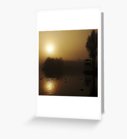 Misty Golden Morning at the Lake 2 Greeting Card