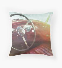 vintage race car in watercolor Throw Pillow
