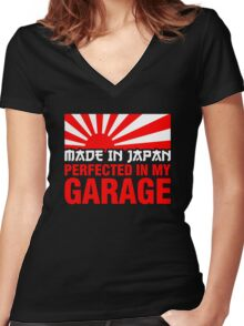 Made In Japan PERFECTED IN MY GARAGE (1) Women's Fitted V-Neck T-Shirt