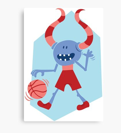 Funny Monster with Ball Canvas Print