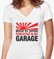 Made In Japan PERFECTED IN MY GARAGE (3) Women's Fitted V-Neck T-Shirt