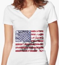 American Flag - Extrude Women's Fitted V-Neck T-Shirt