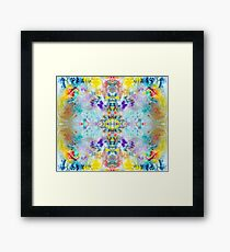 Eye catching vibrant colorful abstract symmetrical ink design pattern Framed Print