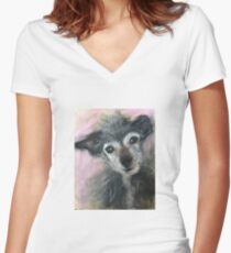 Dino in Pink Women's Fitted V-Neck T-Shirt