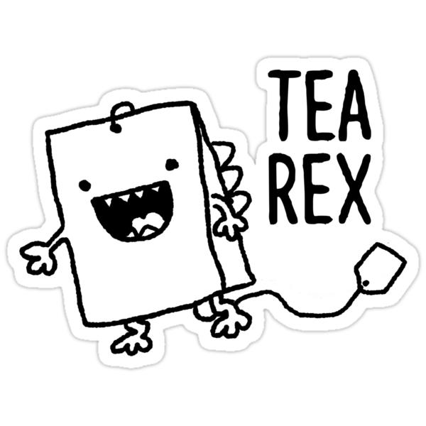 Quot Tea Rex Tea Bag Funny Pun Cartoon Quot Stickers By