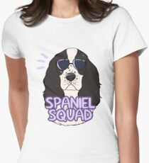 SPANIEL SQUAD (black and white) Women's Fitted T-Shirt
