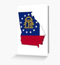 Flag Map of Georgia  Greeting Card