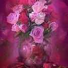 Roses In Rose Vase by Carol  Cavalaris