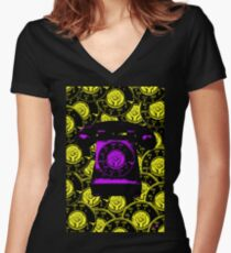 Vintage Purple Phone Women's Fitted V-Neck T-Shirt