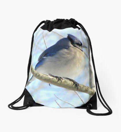 Moody Blue Jay  Drawstring Bag