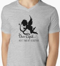 Cool Funny Ironic Love Joke Funny Cupid Text Mens V-Neck T-Shirt