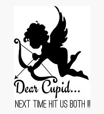 Cool Funny Ironic Love Joke Funny Cupid Text Photographic Print