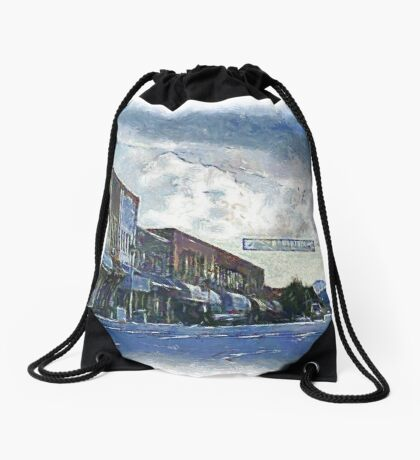 Street Banner in Historic Downtown Franklin, NC Drawstring Bag