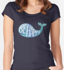 Camiseta entallada de cuello ancho Ballena feliz