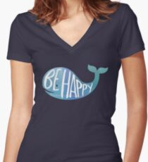 Happy Whale Women's Fitted V-Neck T-Shirt