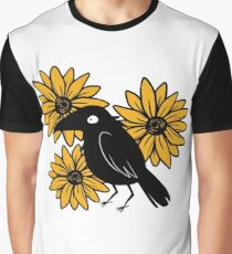 Crow and Sun Flowers Graphic T-Shirt