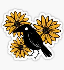 Crow and Sun Flowers Sticker