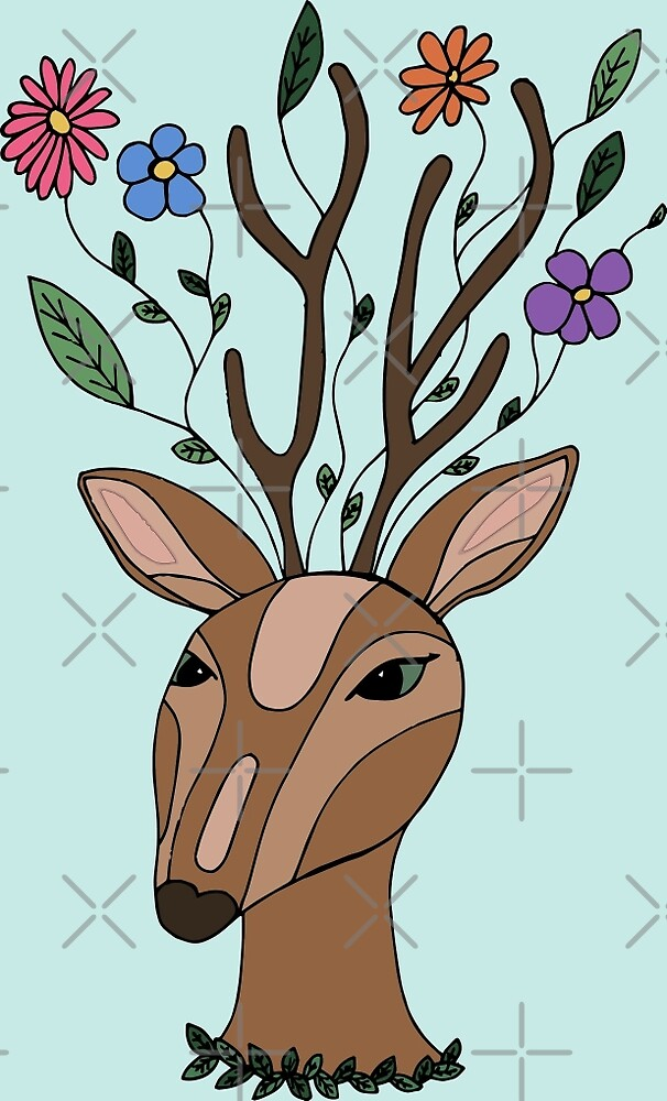 Deer With A Floral Imagination by Ruta Rudminaite