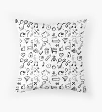 Seamless pattern of web icons Throw Pillow