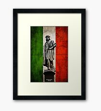 Christopher Columbus Statue with Italian Flag Framed Print