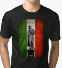Christopher Columbus Statue with Italian Flag Tri-blend T-Shirt