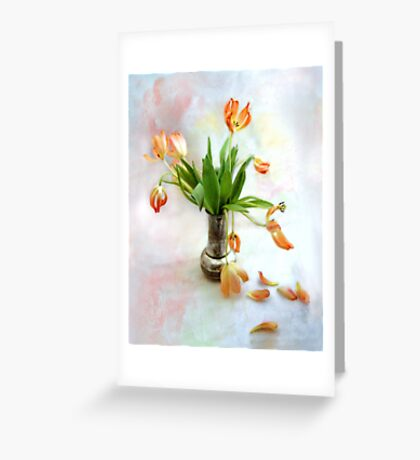 Colorful Tulips in an Antique Silver Pot Greeting Card