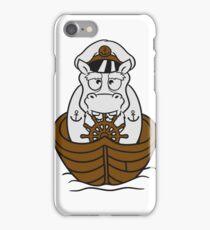 kapitän matrose boot schiff deck mütze anker segeln dick lustig comic cartoon kleines süßes niedliches baby kind nilpferd glücklich  iPhone Case/Skin