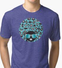 Robots faces blue Tri-blend T-Shirt