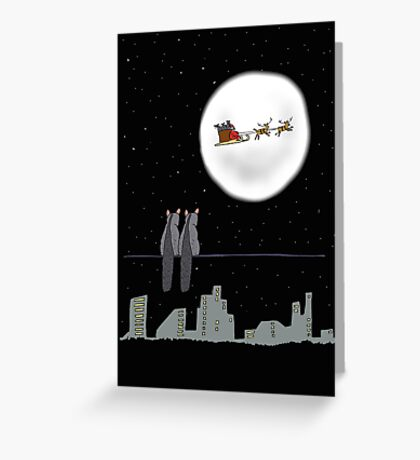 Two Brushtail Possums watching Father Christmas Greeting Card