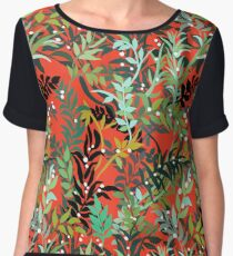 Red Leaves Women's Chiffon Top