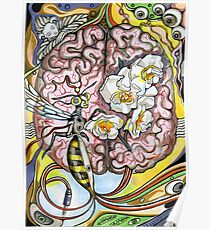 The human brain and a wasp. Poster
