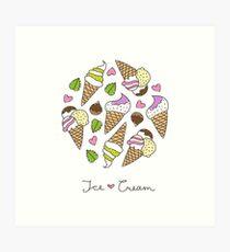 cartoon ice cream cones  Art Print
