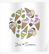 cartoon ice cream cones  Poster