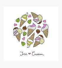 cartoon ice cream cones  Photographic Print