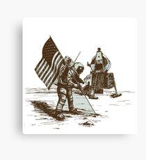 Apollo Moon Landing Vintage Space Cartoon Canvas Print