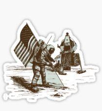 Apollo Moon Landing Vintage Space Cartoon Sticker