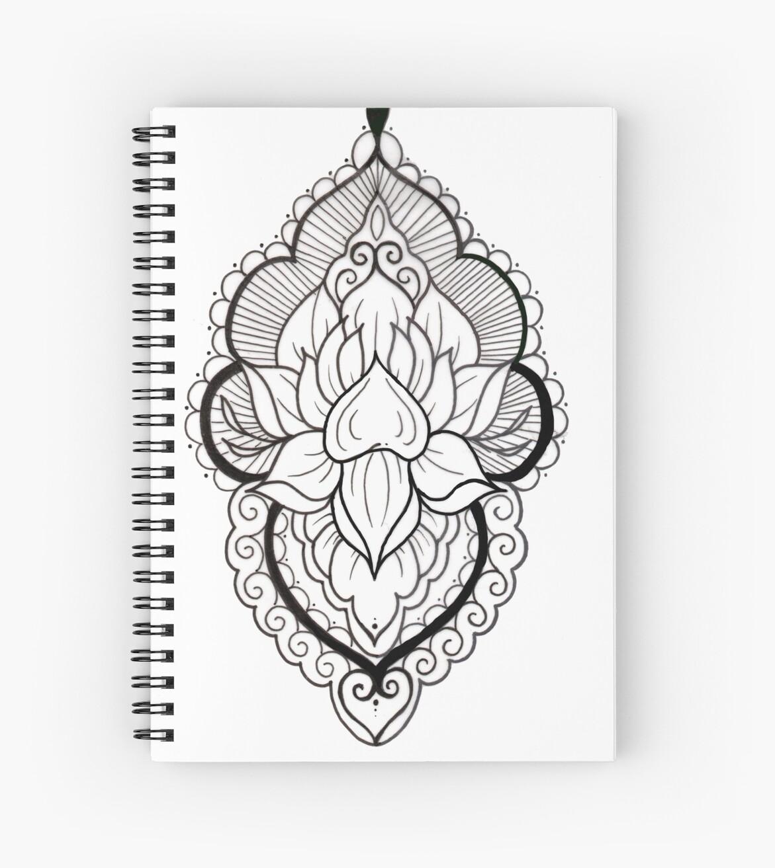 Cuadernos De Espiral Mandala Tattoo Flash Blanco Y Negro De