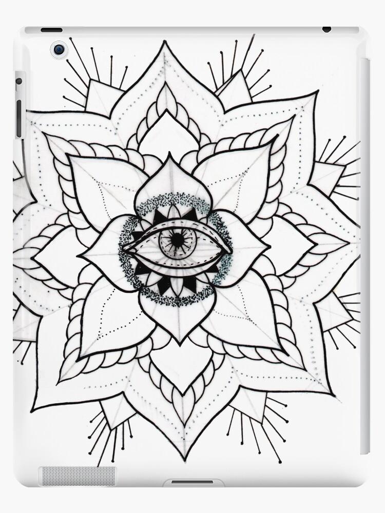Vinilos Y Fundas Para Ipad Mandala Flash Tattoo Blanco Y Negro De
