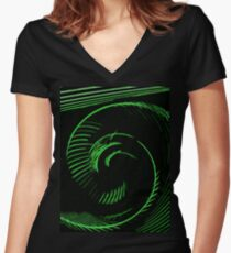 Green spiral, abstraction, visual, optical illusion Women's Fitted V-Neck T-Shirt