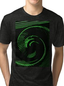 Green spiral, abstraction, visual, optical illusion Tri-blend T-Shirt